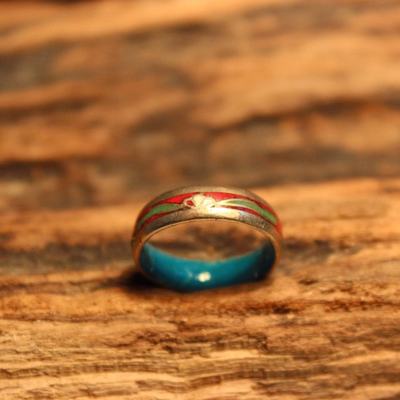 "Vintage Sterling Silver Ring Copper Blue Green Red White Enamel Ring Size 5  Weight 2.4 Grams 3/16"" wide Ring Unisex Silver Vintage Ring"