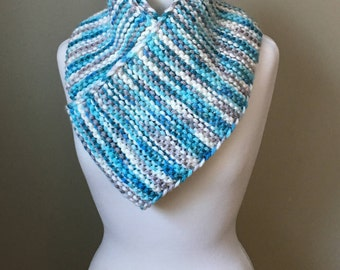 Hand knit scarf in variegated blues, grey & white