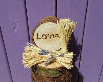 Harvest Decoration, Dried Lavender, Pyrographed Sign, Lammas Ornament, Wheat Sheaf, Wheel of the Year, Pagan Altar, Wiccan Home Decor