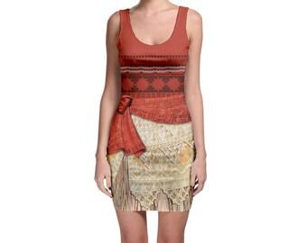 Adult Moana Inspired Tank Bodycon Dress
