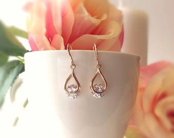 Rose Gold Teardrop Earrings, Crystal Bridal Earrings, Rose Gold Jewelry, Cubic Zirconia Earrings, Small Rose Gold Drop Earrings CZ