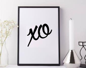 Printable Art - XO - Love - Love Art - Wall Print - Romance - Well Versed Designs