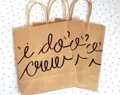 I Do Crew Gift Bags for Bachelorette Bridal Party, Hand lettered Medium Kraft Bags with Handles, Sturdy Bottom, different font color choices
