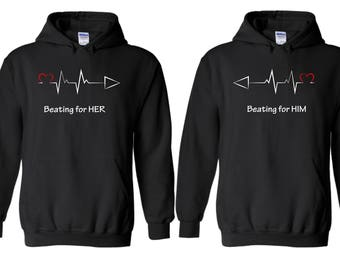 My Heart Beating For Her & Him - Matching Couple Love Hoodies  – Soul Mate Couple Sweaters/Pullovers (20170005)
