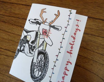 Dirt Bike Motocross Motorcycle Rudolph Christmas Holiday Card
