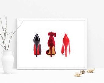 shoes print, PRINTABLE, fashion print, girl room decor, fashion student dorm, dorm, designer heel, wall art, valentino, choo, louboutin
