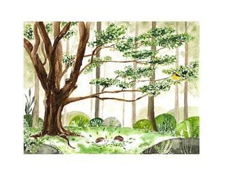 watercolor woodland animals watercolor hedgehog print forest illustration woodland nursery print tree art print forest print woodland decor