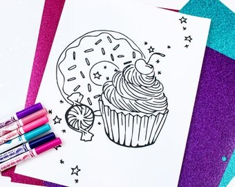 Cupcake Treats Coloring Page / Donut Sprinkles / Peppermint Candy / Adult / Kids / Digital Download / Printable