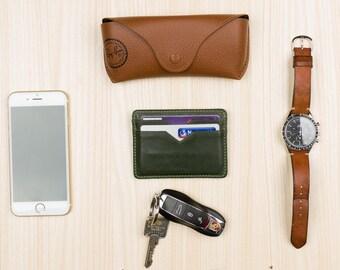 Minimalist Card Holder - RAW GREEN - A-SLIM - Yaiba - Card Holder - Leather Wallets for Men - Card Holder - Thin Wallet - Slim Wallet