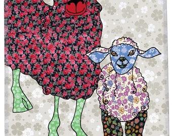 Sheep tea towel, pretty dish towel, printed  kitchen towel, cotton dishcloth, farmhouse chic, black sheep, gift for her, sheep kitchen