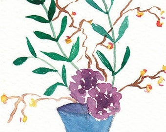 ACEO Original watercolor painting- Ikebana, Flower painting, Gift for nature lovers, Miniature painting, Gift idea for her