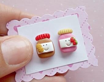 Peanut Butter and Jelly Earrings - Food Earrings - Peanut Butter and Jelly Stud Earrings
