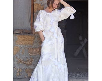 White Embroidered Wedding Dress Ukrainian Vyshyvanka Embroidered Long caftan Boho Dress  Oversize Abaya Plus size dress  Long kaftan