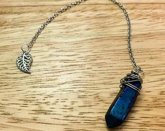 Quartz Pendulum, Titanium Quartz Crystal Pendulum, Pendulum, Dowsing, Divination Tool, Psychic Tool, Dowsing Pendulum, Witches Tools