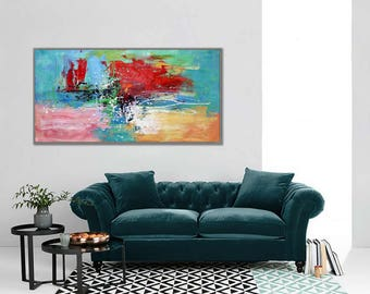 """Modern Wall Art Abstract Painting Red Blue Acrylic Painting Canvas Art Original Abstract Art Modern Interior Decor Painting 24x48""""/60x120cm"""