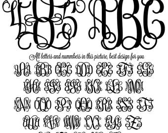Interlocking Vine Monogram Font SVG, Vine Monogram Font Cut files, Digital Font, SVG Fonts, Alphabet Decal Svg files for Silhouette, Cricut