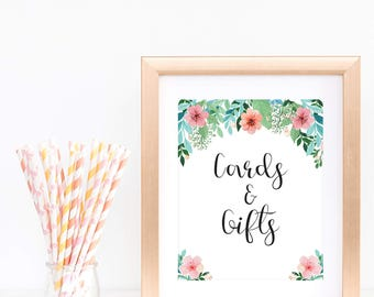 Flowers and Greens Cards and Gifts Sign Baby Shower Bridal Shower Table Decorations Floral Wedding Gifts and Cards Sign Printable Decor FG1