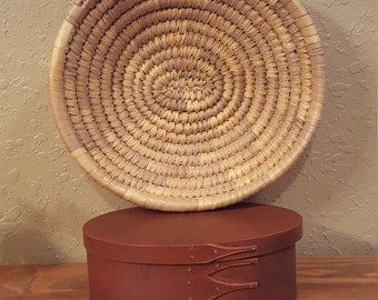 Vintage coiled basket.  Hand woven coiled basket.  Boho, eclectic, sturdy.