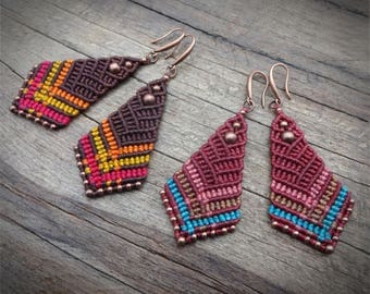 macrame beaded earrings