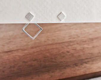 Sterling Silver Square Ear Jackets, Square Double Sided Earrings, Square Stud Earrings, Ear Jackets, Stud Earrings