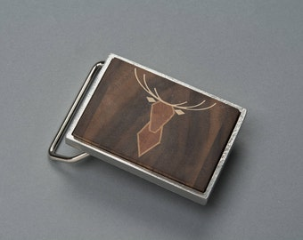 Belt buckle deer wooden (Walnut, cherry and Maple) shiny Nickel finish metal or shiny copper