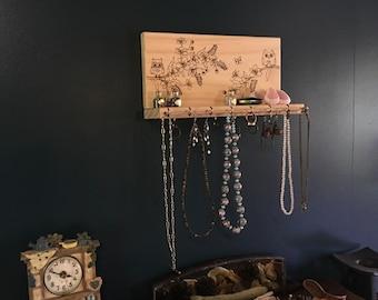Owl Jewellery Organizer   Jewellery Display, Jewellery Stand, Jewellery Holder, Necklace Organizer, Earring Holder   Wood Burnt Organiser