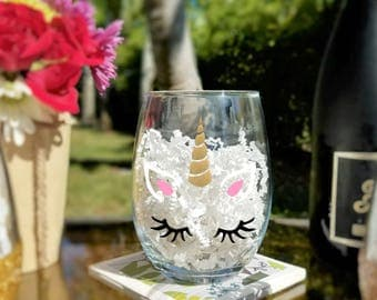 Unicorn Face With Glitter Horn Stemless Wine Glass, Unicorn Lover Gifts, Wine Lover Gifts, Wine Glasses With Decals