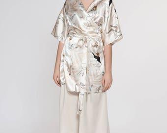 NEW Dance Girls Silk Dress Kimono. Japanese Inspirer Women's Printed Kimono. Holiday, Cocktail Bridesmaid Robe. Fall Fashion. Olivia FW17