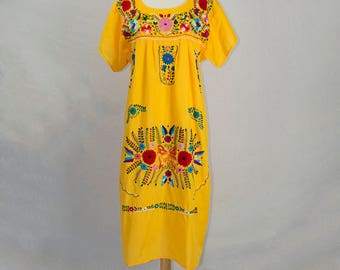 Vintage Mexican Embroidered Butterfly Dress M Hippie Peasant Orange Yellow