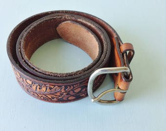 Comanche Acorn Tooled Belt | 1970s
