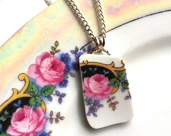 Broken china jewelry - china pendant necklace with chain - antique china shard pendant - pink rose forget me not - made from a broken plate