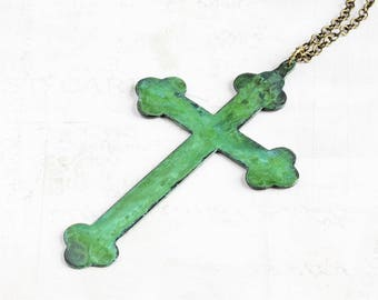 Very Large Cross Necklace with Aged Green Patina on Antiqued Brass Chain (Hand Patina)