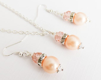 Peach Bridesmaid Jewelry Sets, Pearl Earrings and Necklace, Peach Wedding Jewelry, Bridal Party Gift