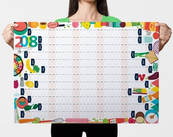 2018 Wall Planner, Kitchen Calendar, Food Calendar, Kitchen Organiser, Food Lover Gift, Foodie Gift, Gift for Chef, Wall Calendar, Organiser