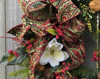 Wreath Bow, Christmas / Everyday Wreath Bow, Elegant Paisley Ribbon, Brown, Red, Green, Wired Ribbon Bow for Christmas, Bow only
