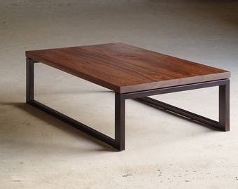 walnut coffee table with custom recycled content steel base - modern urban - contemporary hardwood furniture