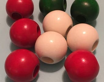 9 Large Vintage Wood Beads Bright Red, Green and White 30 mm 1970s