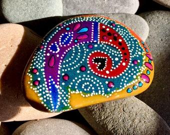 kokopelli spirit / painted rocks/ painted stones/ paperweights / tribal art / meditation stones/ Native American/ stone paintings/ altar art