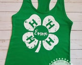 4-H shirt; 4-H tank; distressed 4-H shirt; St. Patrick's Day tank; grunge 4-H tank; racerback; 4-H clothes