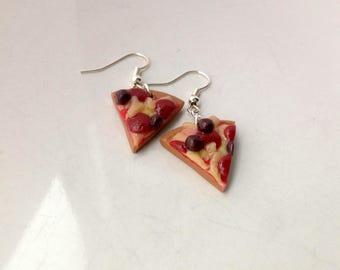 Meat Feast Pizza Earrings Polymer Clay Miniature Food Jewelry Pizza Slice Food Gift for Her