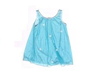 Vintage 60's Daisy Nightie - Turquoise