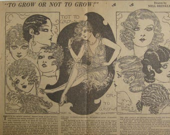 Original 1930's Newspaper Clipping - To Grow Or Not To Grow By Nell Brinkley