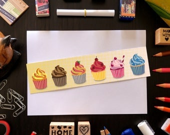 Cupcake bookmark with cupcakes illustration, laminated bookmark, food bookmark, book lover gift, gift for bookworms, dessert bookmark