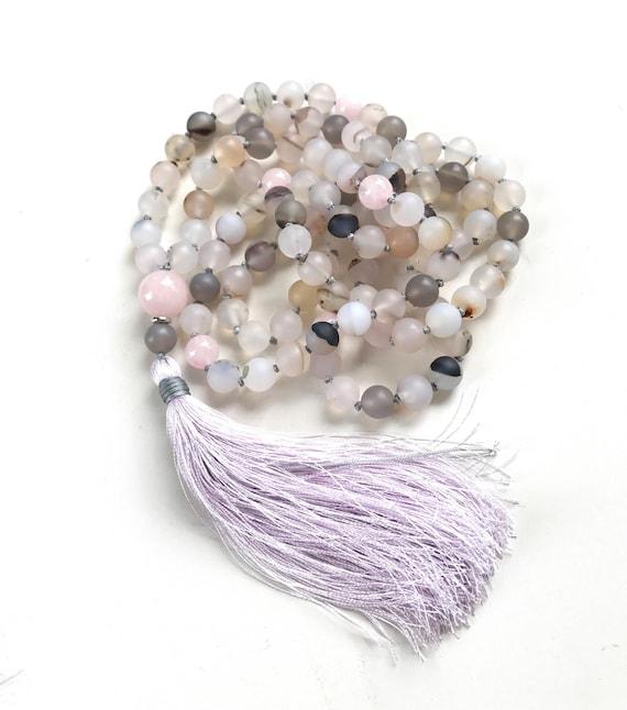 Wind Shadow Agate Mala Beads, Rose Quartz, Mala for Inner Peace, 108 Bead Mala, Hand Knotted With Silk Tassel, Mantra Mala, Meditation Beads