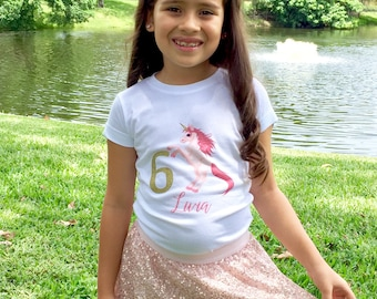 Personalized UNICORN Birthday Girl Gold Glitter T-Shirt