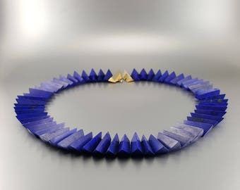 Lapis lazuli Collier/necklace gold plated clasp - natural genuine Lapis Lazuli - blue Statement necklace - special cut - gift Christmas