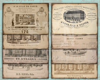 Special Item - Vintage - 19th century ads - Shabby Chic Style - Digital Collage Sheet Download.