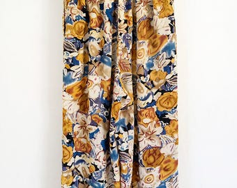 80s blue + gold floral print rayon pull-on stretch waist pants with side pockets, size small