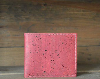 Slim Wine Colored Cork Leather Men's Bifold Wallet
