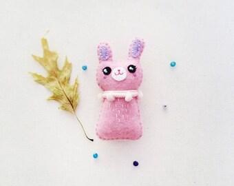 Silly Bunny Brooch or Keychain